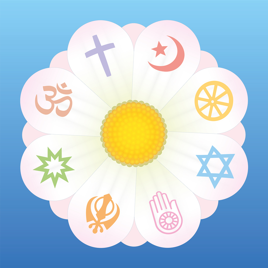 World religion symbols on petals of a flower as a symbol for religious solidarity and coherence - Christianity, Islam, Buddhism, Judaism, Jainism, Sikhism, Bahai, Hinduism. Vector on blue background.