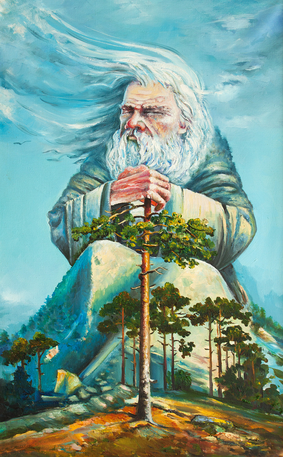 god of forest original oil painting on canvas impressionism painting, an old white hair god, grand magician ruling the world, god-work, the nature spirit